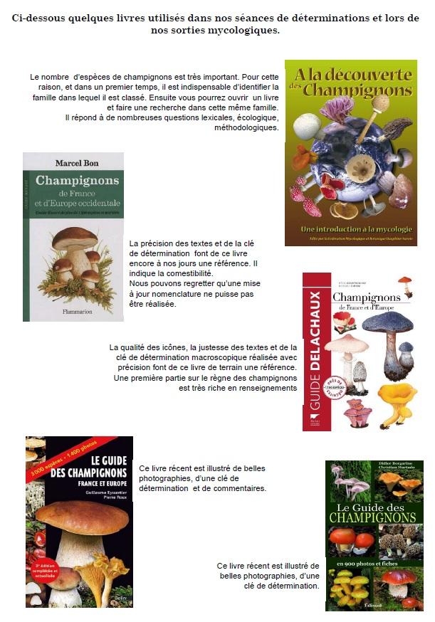 Quelques livres utilisés dans nos séances de déterminations et lors de nos sorties mycologiques